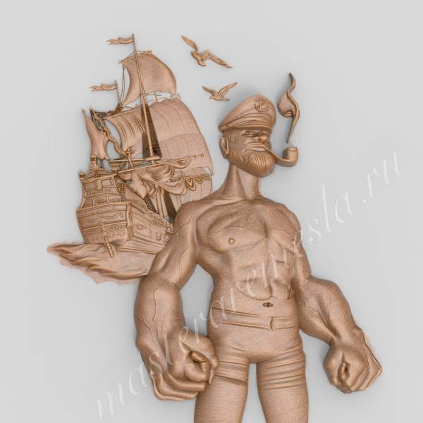 3D ЧПУ модель Попай моряк